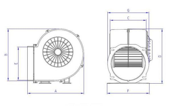 بلوئر هود فوروارد 14سانت یکطرفه سه سرعته (فن سانتریفیوژ حلزونی سایلنت ماینر) برند اسمارتیج با قاب پلاستیکی